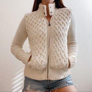 UGG Wool & Cashmere Dyani Cream Sweater Jacket